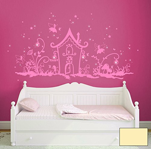'Graz Design Sticker mural Pays magique elfe avec elfes et fées, fleurs Nains, motif chouettes, lumineux, Lanternes et bien plus encore m1239 Sélectionnée – Couleur :, ivoire, XXL_200cmx100cm