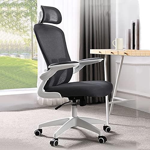 Sedia da Ufficio ergonomica in Rete, Sedia da Lavoro Girevole per Computer, Sedia da scrivania con Schienale Alto con braccioli Regolabili