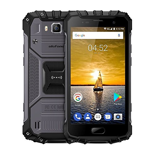 Ulefone Armor 2 5.0 Inch Android 7.0 Unlocked Smartphone - Waterproof Shockproof Dustproof MT6753 64Bit Octa core 1.3GHz 6GB RAM + 64GB ROM 16MP / 13MP Camera 4G Dual SIM Mobile Phone Black