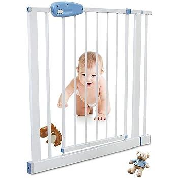 Leogreen - Puerta de Seguridad para Niños Perros Escaleras Barrera de Seguridad de metal, Extensible de 81 cm a 94 cm: Amazon.es: Bebé