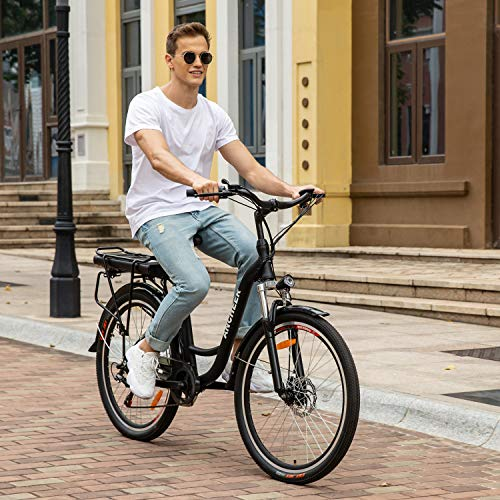ANCHEER 26' Aluminum Electric Bike, Adults Electric Commuting Bicycle with Removable 12.5Ah Battery, Professional Derailleur with 6 Speed, Full Throttle/Pedal Assist City Ebike