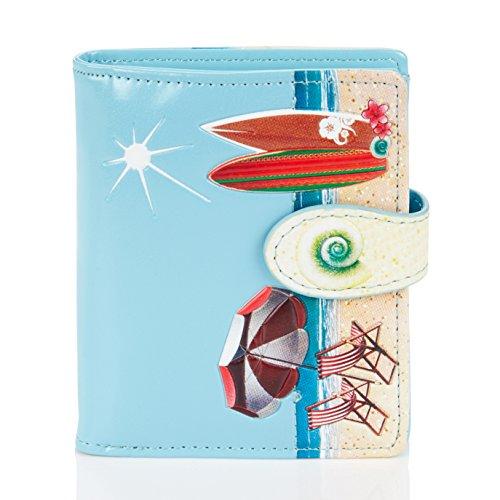 Shagwear ® Portemonnaie Geldbörse Damen Geldbeutel Mädchen Bifold Mehrfarbig Portmonee | Verschiedene Farben und Designs: (Strand Postkarte Himmelblau/Beach Post Card)