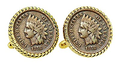 1800's Indian Head Penny Goldtone Rope Bezel Coin Cuff Links | United States Coins | Men's Cufflinks | Over 100 Years Old