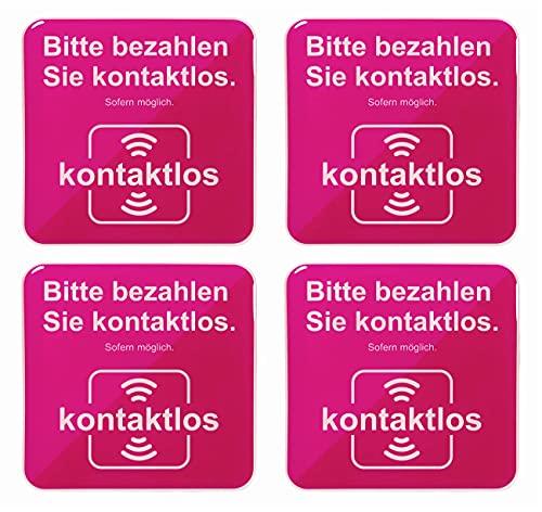 BIKE-label Kassenschild 3D Aufkleber 80 x 80 mm 4 Stück bargeldlos Zahlen 900211