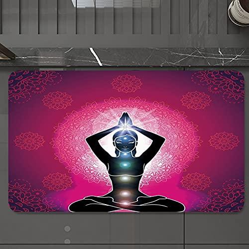 Alfombrilla de Baño Antideslizantes de 50X80 cm,Chakra Decor, Maroon Silhouette of Yoga Woma, Tapete para el Piso Lavable a Máquina con Microfibras Suaves Absorbentes de Agua para Bañera, Ducha y Baño
