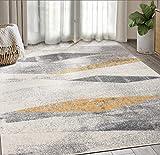 Geometric Distressed Turkish Area Rug, Laguna Collection Grey & Yellow Modern Style 7' 9'...
