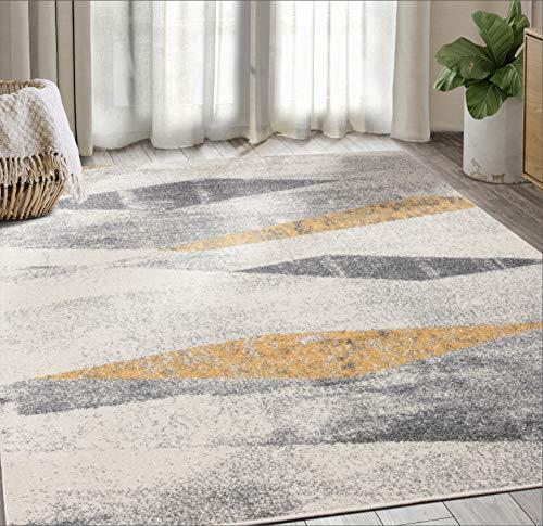 Geometric Distressed Turkish Area Rug, Laguna Collection Grey & Yellow Modern Style 7' 9