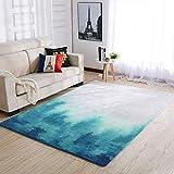 Area Rugs - Alfombra grande de tinta azul para habitación de bebé, 91 x 152 cm, color blanco