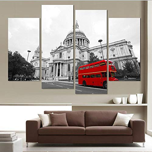 Mubgo Canvas foto's Mode Red Sightseeing bus 4 Panel Modern Street View Schilderen Afbeelding Hd stad gebouwen Landschap Schilderen Canvas Wandkunst 40x80x2 40x100x2