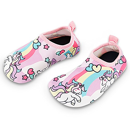 Toddler Kids Swim Water Shoes Quick Dry Non-Slip Water Skin Barefoot Sports Shoes Aqua Socks for Boys Girls Toddler, Unicorn, 8 Toddler