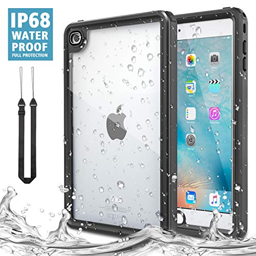 """MoKo Case Fit iPad Mini 4, Waterproof Case with Built-in Screen Protector Clear Protective Shock-Absorbing Bumper Dustproof Submersible Full-Body Case Fit iPad Mini 4 7.9"""" 2015 Release Tablet, Black"""