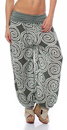 Malito Mujer Bombacho en Muchos Colores y Patrones Pantalón Aladdin Yoga S1482 (Oliva 1718, Adecuado de la Talla 36 hasta 44)