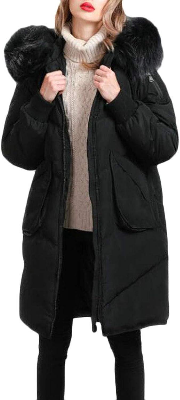 Pandapang Women Loose Warm Thicken Outerwear Faux Fur Hoodie Puffer Down Coats