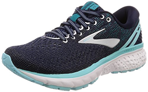 Brooks Womens Ghost 11 Running Shoe - Navy/Grey/Blue - B - 8.5