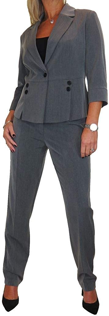 Womens Formal Business Soft Lined Trousers Suit Ladies Smart Designer Look Washable Office 2 Piece 8-16