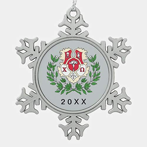 PotteLove Chi Omega Crest Snowflake Pewter Christmas Ornament, Snowflake Pewter Christmas Ornament Custom Name, Date, Photo