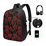 Usicapwear Backpack,Love Valentines Day Retro Petals with Leaves Ornamental Growth Pattern