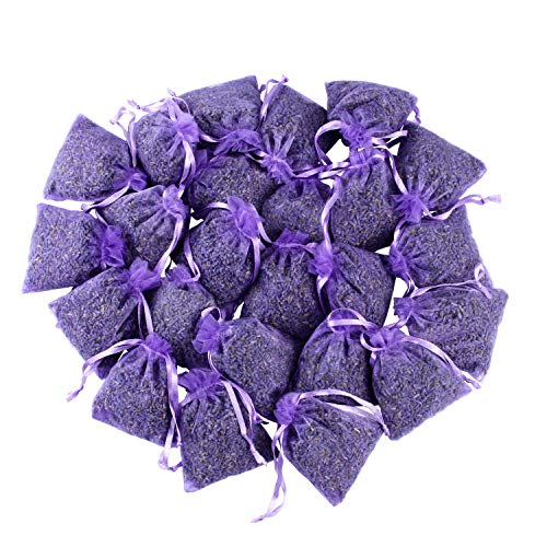 24 Small Purple Sachets Craft Bag with Dried French Lavender Flower Buds - Lavender Sachets for Wedding Toss, Home Fragrance Sachets for Drawers and Dressers