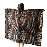 Yesloo Poncho impermeabile extra-lungo multifunzionale 3-in-1, impermeabile unisex, tappetino per tenda, telo parasole, mantello impermeabile mimetico per picnic all'aperto