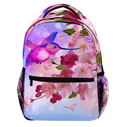 Retro Hummingbird and Pink Peach Blossom Laptop Backpack for Men School Bookbag Travel Rucksack Daypack School Bag for Women Girls