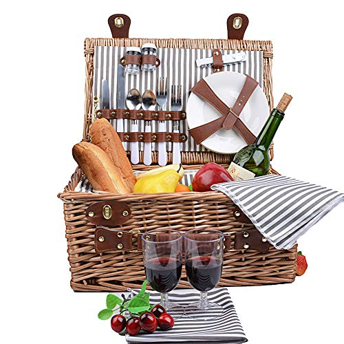 SatisInside Upgraded Insulated Deluxe 16Pcs Kit Wicker Picnic Basket Set for 2 People - Reinforced Handle - Grey
