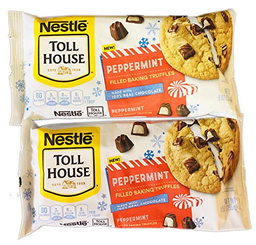 Nestle Toll House Peppermint Truffles 9 Oz Pack Of 2! Peppermint Filled Baking Truffles! Made With 100% Real Chocolate! Great For Holiday Baking Cookies, Brownies, Cupcakes And More!