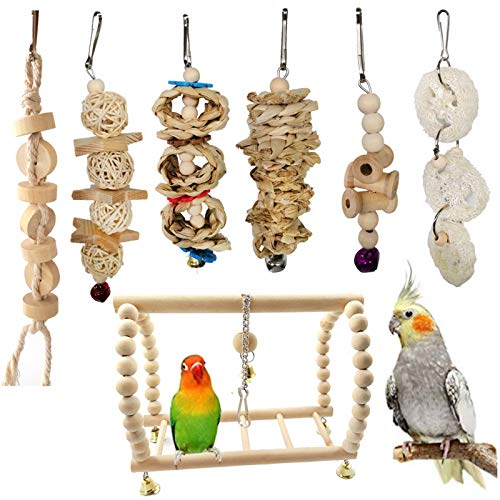Poachers Bird Toys 5/7/8 Pack Parrot Toy Set for Small Pet Bells Wooden Perch Hanging Swing Hammock Shredding Chewing Love Birds Parakeets Cockatiels Cage Ringneck Macaws Finches Mynah Budgies