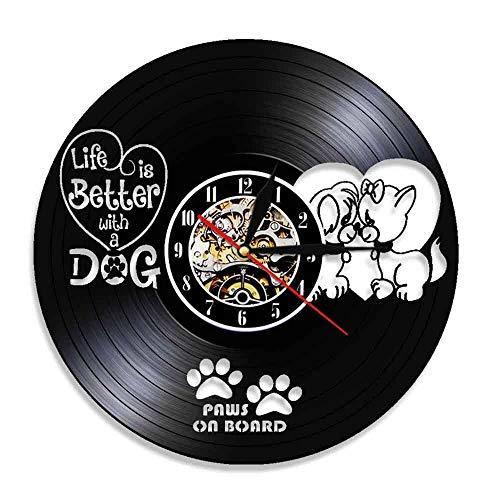 BFMBCHDJ Cute Dog Vinyl Record Reloj de Pared Varios Tipos de Shepherd Dog Pug Series Vinyl Art Wall Clock A3 con LED de 12 Pulgadas