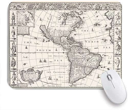 VAMIX Medium Mauspad,1626 Antike Karte von Nord- und Südamerika,Laptop Tischunterlage wasserdichte Schreibunterlage für Büro Gaming rutschfest Mauspads 240mm x 200mm