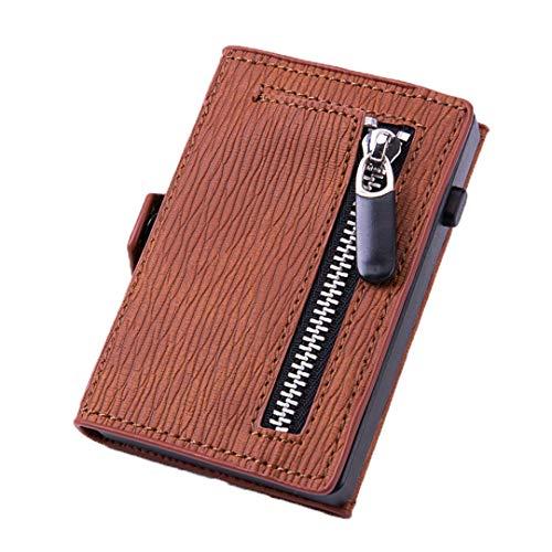 Titular de la Tarjeta de crédito de Cuero de la Fibra de Carbono RFID Hombre de la Cartera de los Hombres Anti Metal Titular de la Tarjeta del Banco de la Caja del Bolsillo de la Cartera Brown-C