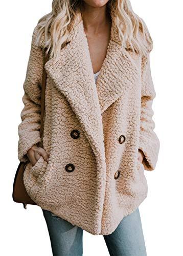 Shawhuwa Womens Fleece Fashion Open Front Cardigan Coat Jacket with Pockets Outwear Warm Winter Khaki Medium