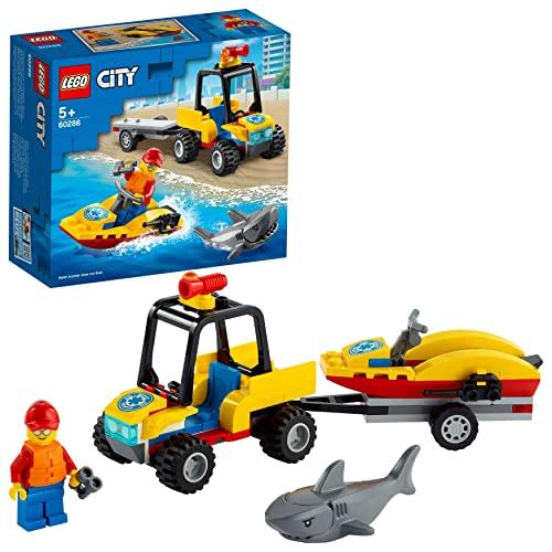 LEGO 60286 City Great Vehicles Quad de Rescate Costero con Tiburón de Juguete para Niños y Niñas +5 Años y Mini Figura de Socorrista