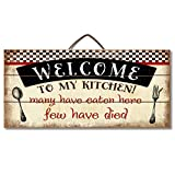 Highland Home Welcome to My Kitchen Slatted Pallet Wood Sign Made in The USA