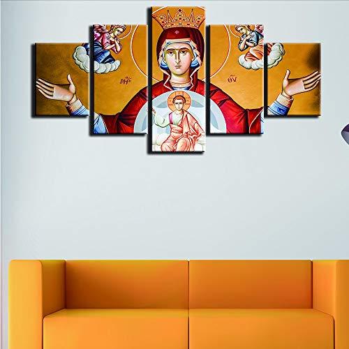 lbonb Sin Marco Moderno para Pinturas Lienzos Decorativos Impresiones De Arte 5 Panel Virgen María Cuadro De Pared para La Decoración del Hogar Pintura Niños Habitación