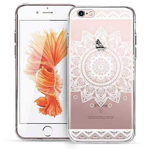 Conie MC1252 Mandala Case Kompatibel mit iPhone 4 / 4S, Orient TPU Hülle mit HD Muster Silikon Schutzhülle für iPhone 4s Bumper Henna Motiv Weiss