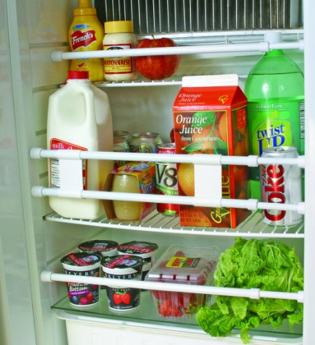 """Camco 28"""" Double RV Refrigerator Bar, Holds Food and Drinks in Place During Travel, Prevents Messy Spills, Spring Loaded and Extends Between 16"""" and 28"""" - White (44073)"""