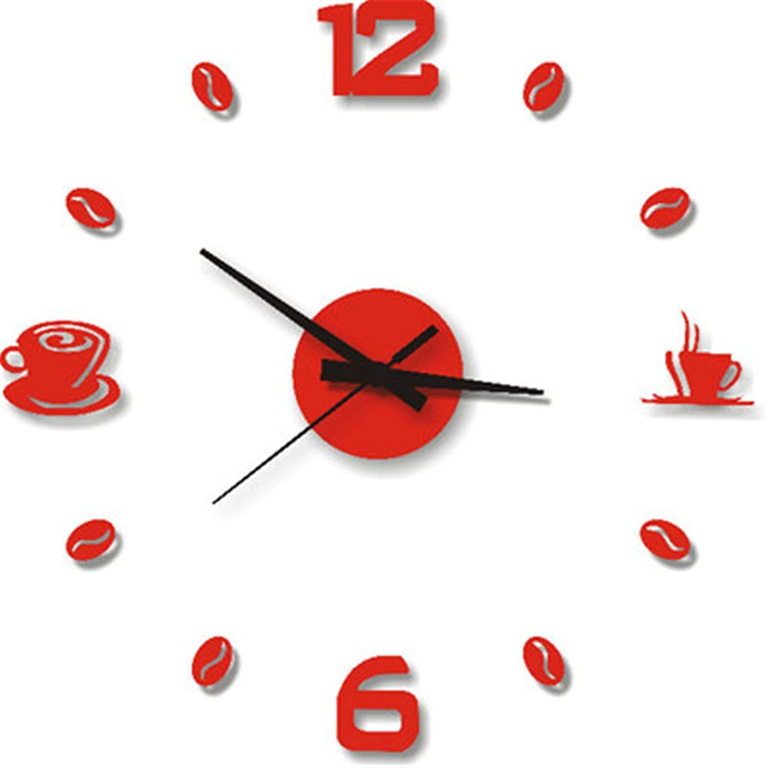 Wall Clock Living Room Hall Decoration Wall Clock Digital Wall Stickers Home School Movement Display Paste, Red