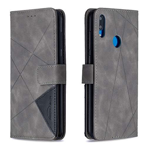 Tosim Huawei Y7 2019/Y7 Pro 2019 Hülle Klappbar Leder, Brieftasche Handyhülle Klapphülle mit Kartenhalter Stossfest Lederhülle für Huawei Y7 Prime 2019 - TOBFE220356 Grau
