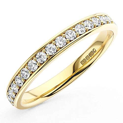 Anillo de boda de media eternidad con diamante de corte brillante redondo de 0,30 quilates en oro amarillo de 18 quilates.