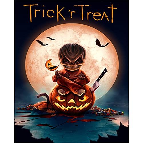 Pittura di Halloween con motivo a zucca fai da te, senza frammenti su tela (S788)