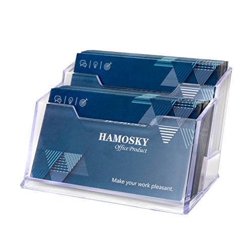 Hamosky Business Card Case Holder, 2 Tier Clear Business Card Holder Display, Plastic Business Card Stand Business Card Organizer for Office(1 Pack)