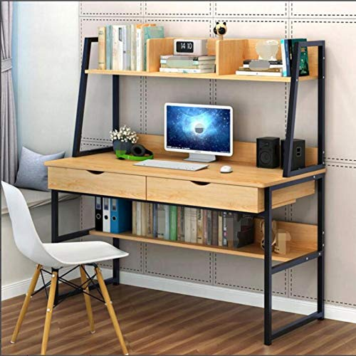 Computer Desk with Hutch & 2 Drawers & Bookshelf, 39-inch Home Office Desk Computer Workstation Writing Desk, Space Saving Design [UK IN STOCK] (Brown)