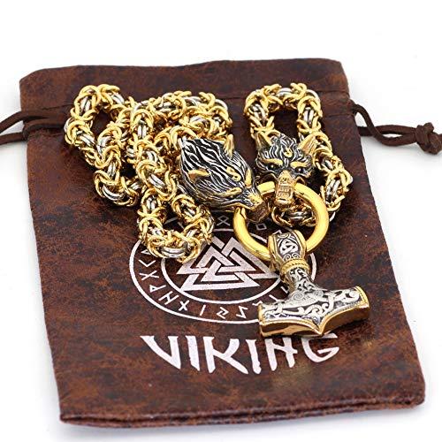 WLXW Männer Wikinger Halskette | Wolfskopf Nordischer Thors Hammer Wikinger Mjolnir Anhänger Halskette | Edelstahlkette Halskette Gold Und Platinierter Wikingerschmuck,70CM
