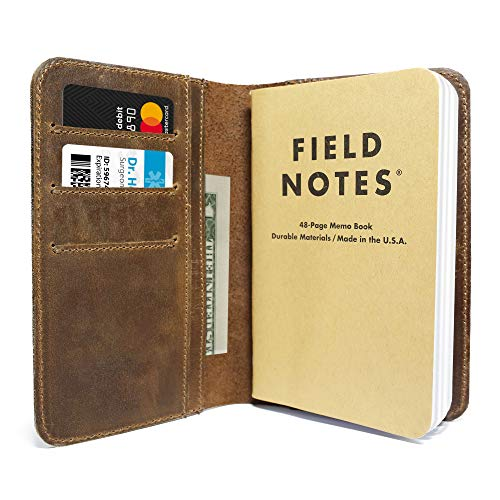 "Leather Field Notes Cover for Memo - Pocket Sized Notebook, fits 3.5"" x 5.5"" Notebooks, Hand Stitched Brown Real Top Grain Leather, Multiple Pockets for Extra Functionality"