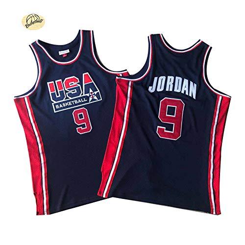 Michael Jordan USA Dream Team Basketball Jerseys, Chaleco de moda bordado para hombres jóvenes, cómoda y transpirable Swingman sudadera (S-2XL), 123, azul, L