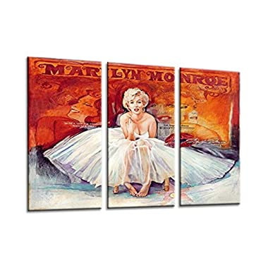 Sweety Decor Marilyn Monroe Colorful Photos Modern Wall Decoration Art Prints on Canvas 3pcs/set for Home and Office (Wood Framed)