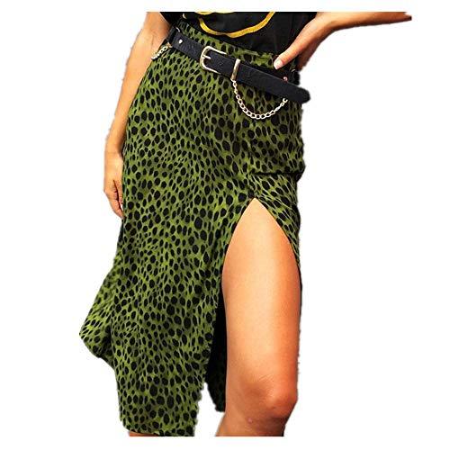 N\P Verano Mujeres Sexy Encaje Hasta Faldas Cintura Alta Volantes Suelto Largo Envoltura Falda Señoras Leopardo Playa Elegante Falda Mujer