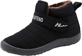 QueenMM Mens&Womens Winter Snow Boots Waterproof Cotton Warm Fur Lined Slip-on Comfort Outdoor Bootie
