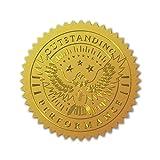 CRASPIRE 100 Unidad de Sellos de Certificado de Lámina de Oro En Relieve, Pegatinas Autoadhesivas, Pegatinas de Decoración de Medallas, Certificación, Graduación(Rendimiento Excepcional)
