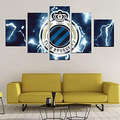 DSGER HD Art Cuadro De Pared 5 Partes Impresión Decoración Canvas Club De Bélgica Moderno Salón Decoración para Hogar